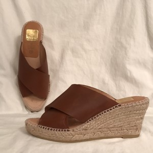 Kanna New/nwot Leather Natural Fiber Design Heels Wedge Brown Natural Sandals