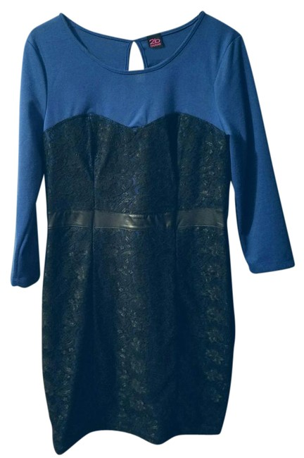 Preload https://img-static.tradesy.com/item/21257624/2b-bebe-black-blue-long-sleeve-lace-mid-length-cocktail-dress-size-12-l-0-1-650-650.jpg