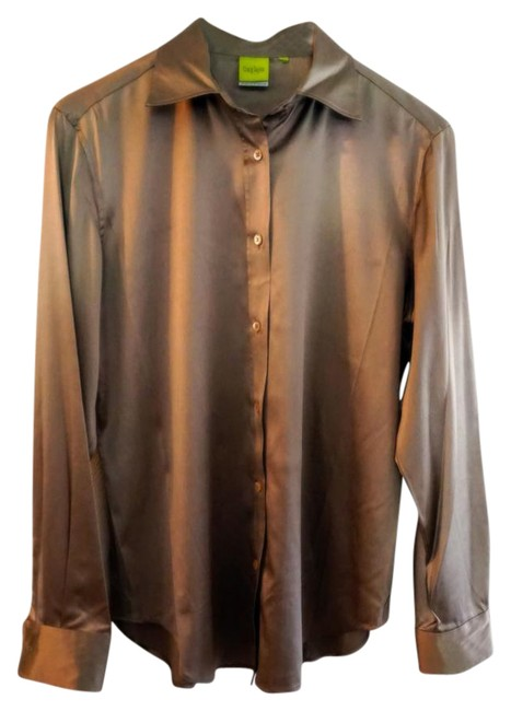 Craig Taylor Silk Silk Satin Blouse Blouse Career Button Down Shirt Gold Image 0