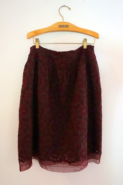 Cynthia Steffe Red Plum Deep Red Silk Summer Skirt Burgundy