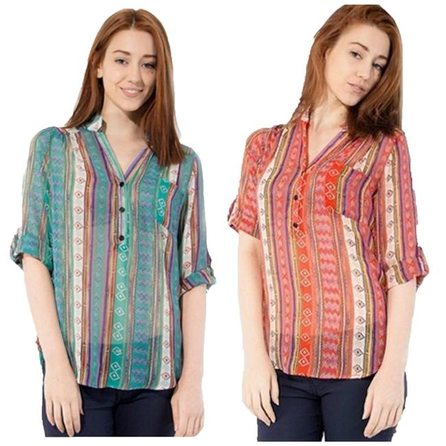 Preload https://img-static.tradesy.com/item/21257695/teal-or-orange-women-s-tribal-print-shirt-blouse-size-8-m-0-0-650-650.jpg
