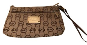 Michael Kors Vintage Wristlet Brown and Tan Clutch