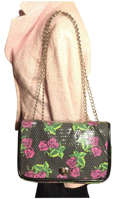 Item - Silver/Rose Print Silver/Pink/Green/Black Sequin/Pvc/Polyester Shoulder Bag
