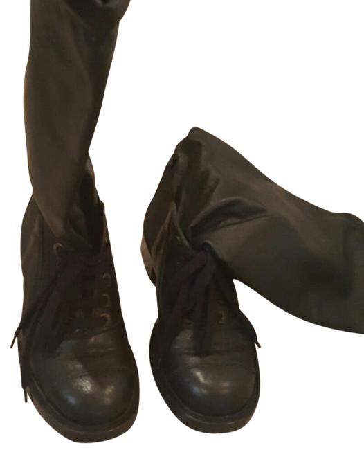 Chanel Black Leather Combat Boots/Booties Size US 6 Regular (M, B) Chanel Black Leather Combat Boots/Booties Size US 6 Regular (M, B) Image 1