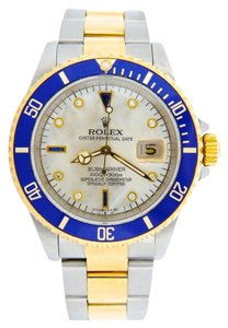 Rolex Mens Rolex Two-Tone 18K/SS Submariner White MOP Diamond Blue 16613