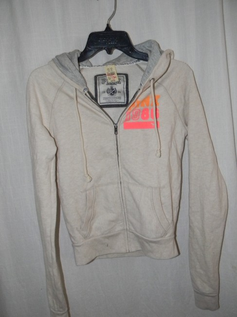 Victoria's Secret Cotton Blend Orange PEACE Sign Graphic Decor Hoodie
