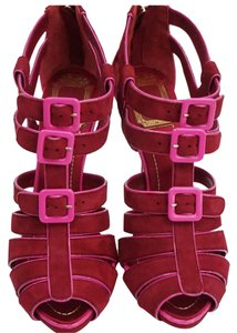 Dior Open Toe Leather Satin Heel Raspberry / Pink Platforms