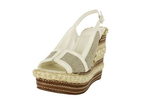 Tory Burch White Slingback Open Toe Women Brown Wedges