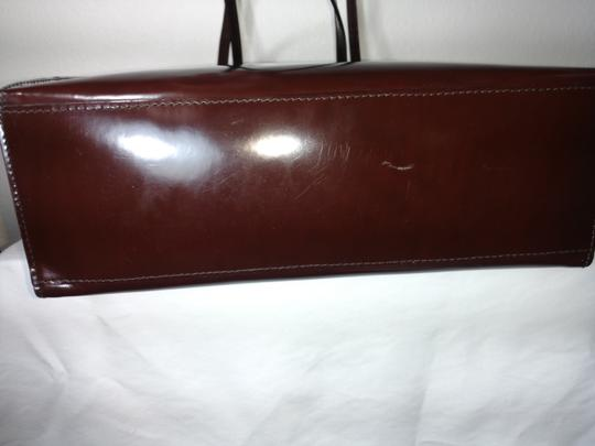 Furla Patent Leather Leather Tote in Reddish/Brown
