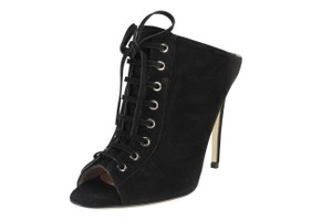 Miu Miu Open Toe Lace Up Leather Slip On Black Pumps