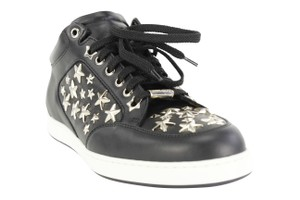 Jimmy Choo Stars Lace Up Sneakers Leather Black Athletic