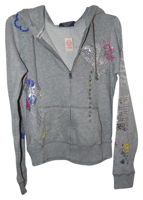 Preload https://img-static.tradesy.com/item/21258019/victoria-s-secret-grey-cotton-blend-multi-rhinestones-love-pink-activewear-hoodie-size-6-s-28-0-2-650-650.jpg