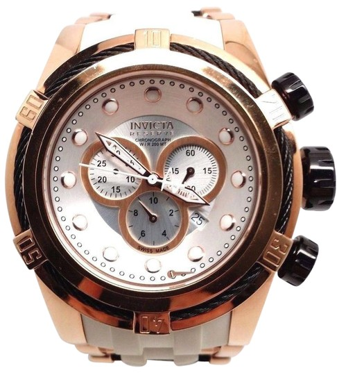 Invicta Men's Unique 14409S Reserve Bolt Chronograph Silver Dial ALL Gold-Tone