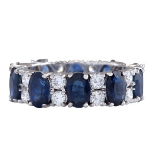 Fashion Strada 6.95CTW Natural Blue Sapphire And Diamond Ring 14K Solid White Gold