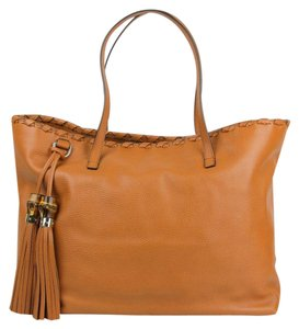 Gucci Leather Large Tote in Light Brown