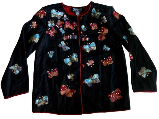 Indigo Moon New Black Blazer Jacket Beads Sequins Multicolored Butterflies Size XS