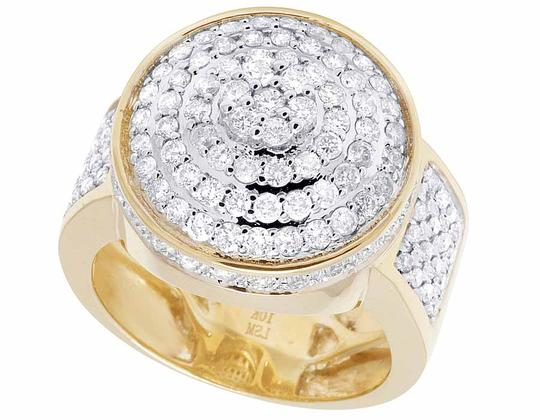 Other Men's 10K Yellow Gold Real Diamond Round 3D Pinky Ring 2 1/6 CT 20MM