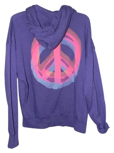 Item - Purple Cotton Blend Peace Graphics Oversized Activewear Outerwear Size 6 (S, 28)