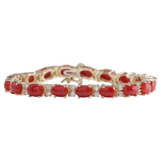 Preload https://img-static.tradesy.com/item/21258257/red-1844-carat-natural-coral-14k-yellow-gold-diamond-bracelet-0-0-540-540.jpg