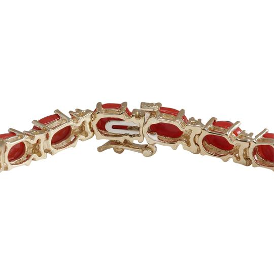 Fashion Strada 18.44 Carat Natural Coral 14K Yellow Gold Diamond Bracelet