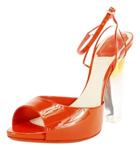 Dior High Heels Ankle Strap Women Leather Orange Pumps