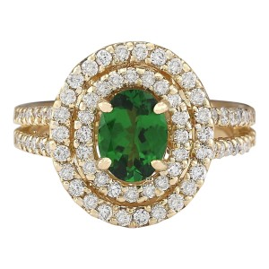 Fashion Strada 2.25 CTW Natural Tsavorite And Diamond Ring In 14k Yellow Gold