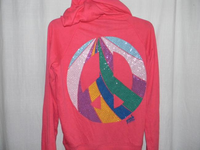 Victoria's Secret Cotton Blend Rainbow Rhinestones PEACE Sign Hoodie