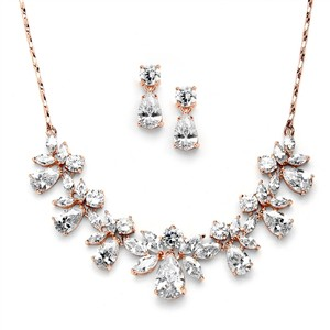 Rose Gold Stunning Multi Pear Shaped Crystal Necklace