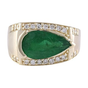 Fashion Strada 4.18 CTW Natural Emerald And Diamond Ring In 14k Yellow Gold