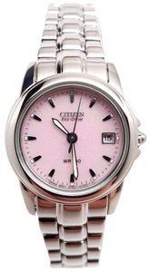 Citizen EW1620-57X Eco Drive Silhouette Stainless Steel Pink Dial Watch BROKEN