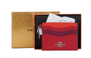 Coach Coach 64747B Color Block Charm Flat Leather Card Case Gift Box