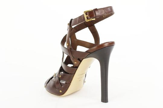 Tom Ford Open Toe Strappy Studded Leather Heels Brown Pumps
