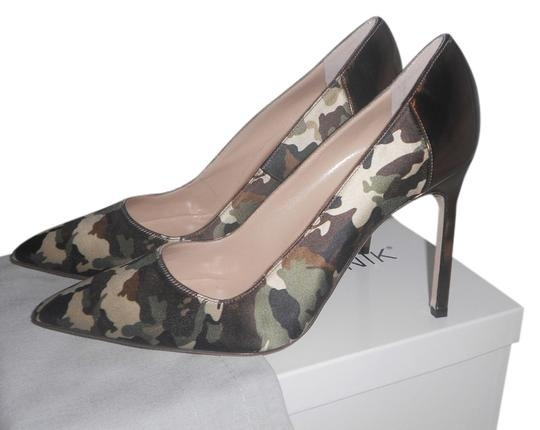 Manolo Blahnik Brand New Never Worn Camo green and gold Pumps