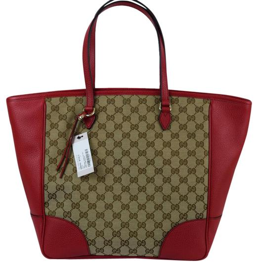 Preload https://item5.tradesy.com/images/gucci-449242-monogram-redtan-leather-and-gg-patern-cloth-tote-21258449-0-1.jpg?width=440&height=440
