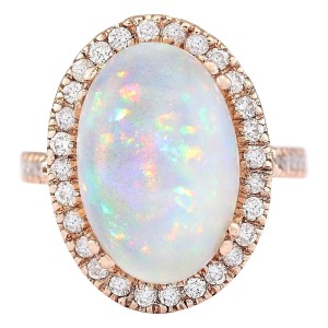 Fashion Strada 7.92 CTW Natural Opal And Diamond Ring In 14k Rose Gold
