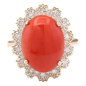 Fashion Strada 7.98 Carat Natural Coral 14K Yellow Gold Diamond Ring