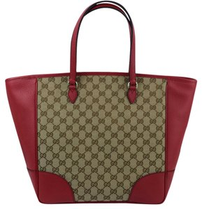 Gucci 449242 Gg Monogram Tote in Red/Tan