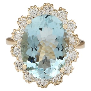 Fashion Strada 8.17 CTW Natural Blue Aquamarine And Diamond Ring In 14k Yellow Gold