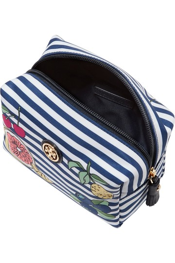 Tory Burch Brigitte leather-trimmed printed shell cosmetics case