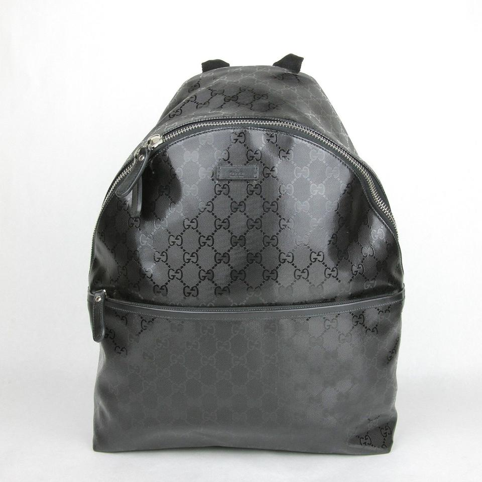 b461133edcc3d4 Gucci Gg with Front Pocket 246414 Black Imprime Leather Backpack ...