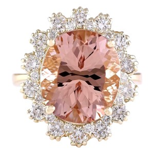 Fashion Strada 8.65 CTW Natural Morganite And Diamond Ring In 14k Solid Yellow Gold