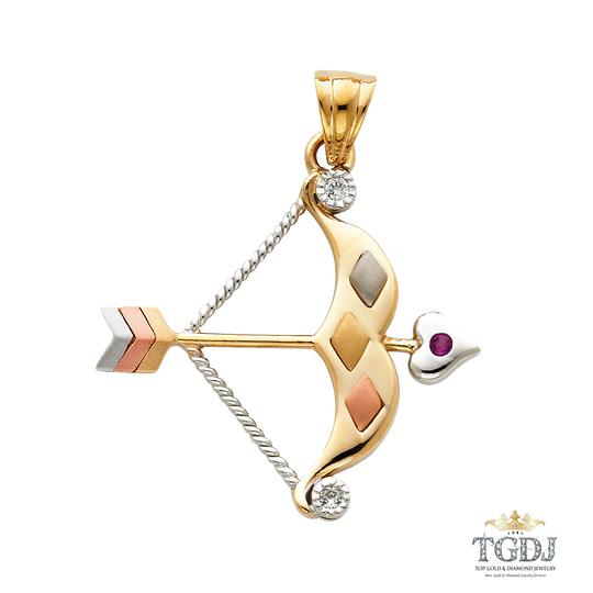 Top Gold & Diamond Jewelry CZ Bow & ARow Pendant,14K Tri Color CZ Bow & ARow Pendant