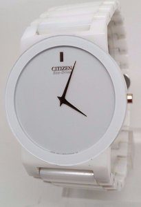 Citizen Eco-Drive Stiletto Unisex White Ceramic Bracelet Dress Watch AR3050-52