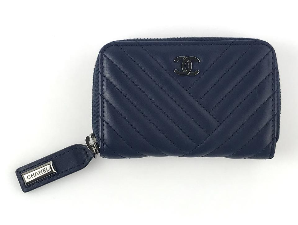 d333e4d2531f Chanel Navy Chevron Card Wallet - Tradesy