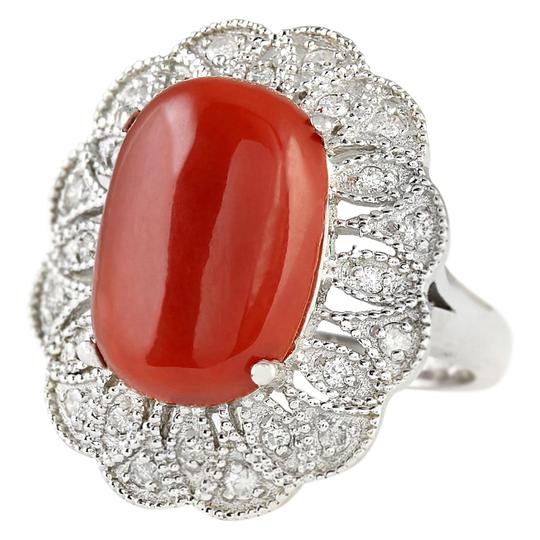 Fashion Strada 9.07 CTW Natural Coral And Diamond Ring In 14k White Gold