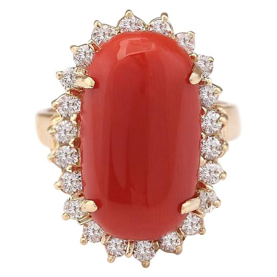 Preload https://img-static.tradesy.com/item/21258632/907-ctw-natural-coral-and-diamond-in-14k-yellow-gold-ring-0-0-540-540.jpg