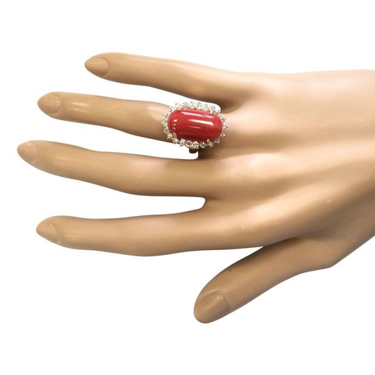 Fashion Strada 9.07 CTW Natural Coral And Diamond Ring In 14k Yellow Gold
