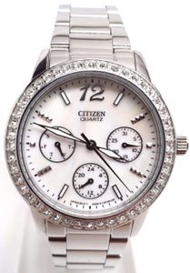 Citizen White Dial Stainless Steel Swarovski Crystal Ladies Watch ED8090-53D