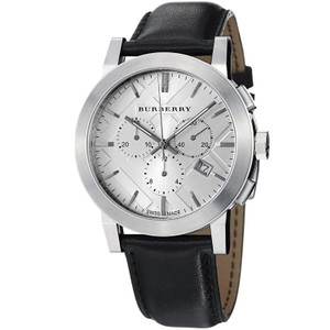Burberry Men's Chronograph Swiss Stainless Steel Black Leather Watch BU9355