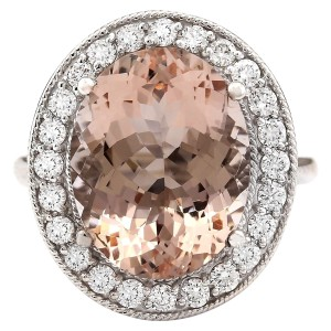 Fashion Strada 9.29 CTW Natural Morganite And Diamond Ring In 14k White Gold